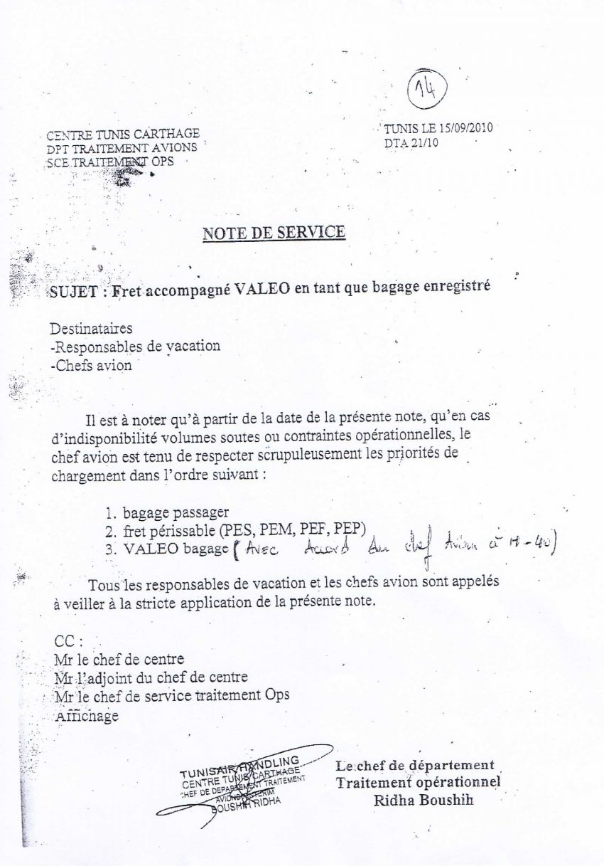 حقائب Valeo التي تنقلها شركة بن غربية هي ثالث بضاعة ذات أولوية على متن الخطوط التونسية