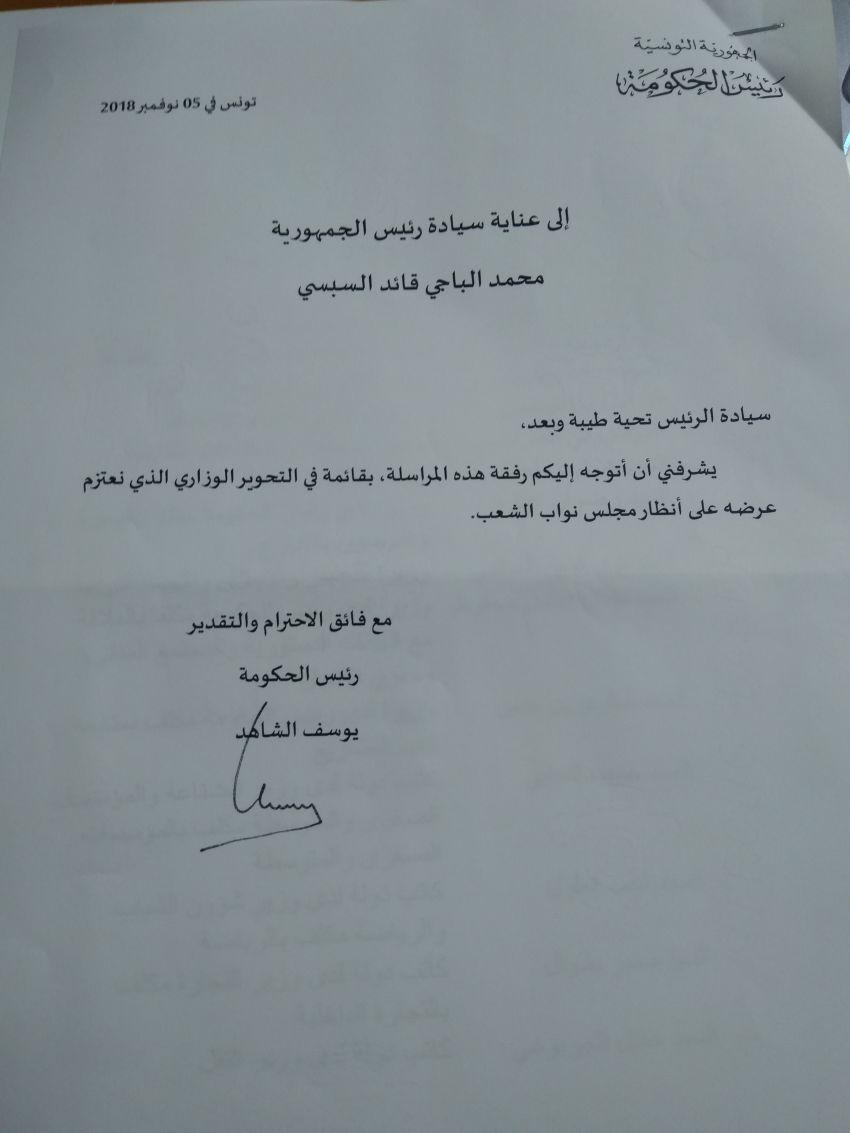 مراسلة رئيس الحكومة لاعلام رئيس الجمهورية بالتحوير الوزاري