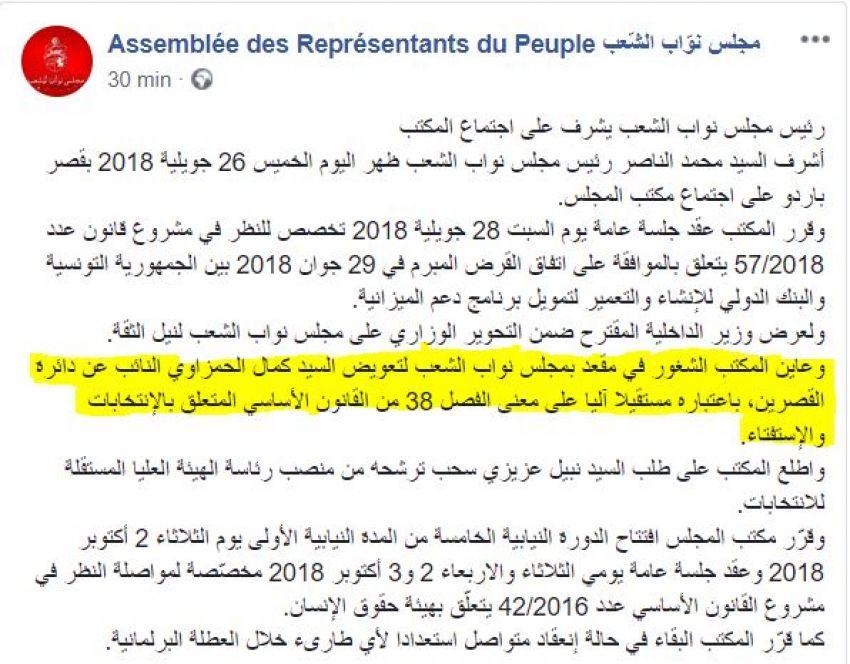 مجلس نواب الشعب يعلن اعتبار كمال الحمزاوي مستقيلا، خلال اجتماع لمكتبه اليوم الخميس