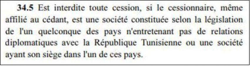 النص القانوني يمنع بيع أسهم لشركة مسجلة في دولة لا تربطها علاقات ديبلوماسية بالجمهورية التونسية