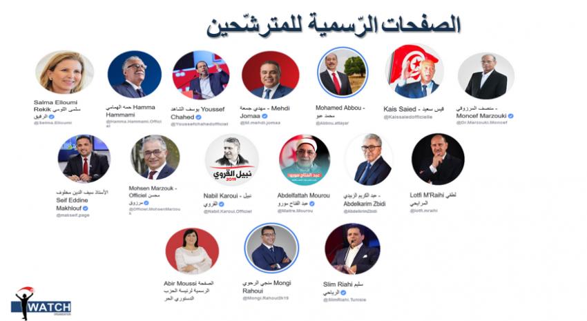 صفحات المترشحين ال16 التي تم رصدها و متابعتها